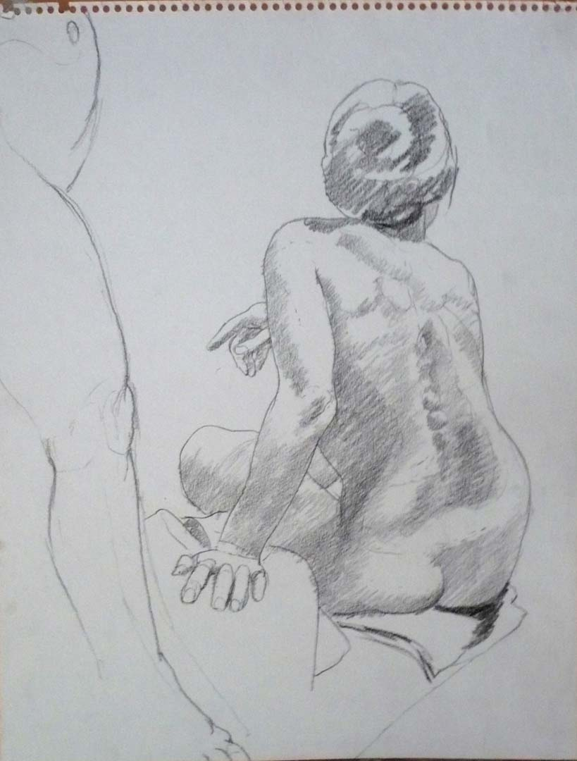 "Standing Model's Leg and Back of Seated Model Pencil 14"" x 11"""