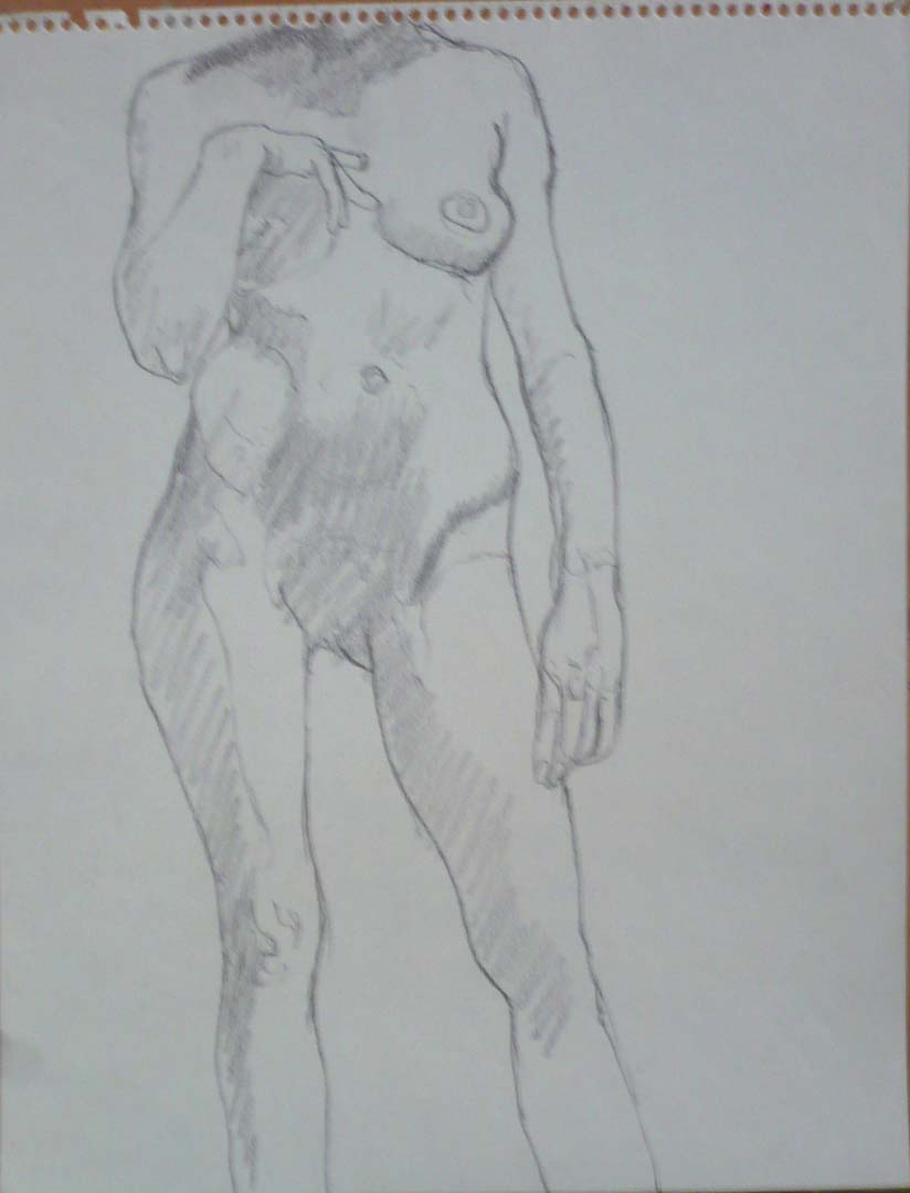 "Standing Model with Hand on Chest Pencil 14"" x 11"""