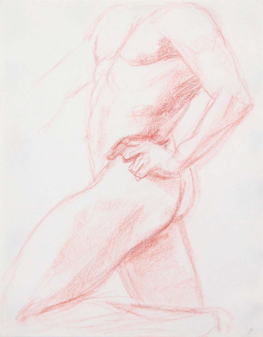 Standing Model with Left Leg Bent Conte Crayon 11 x 8.5