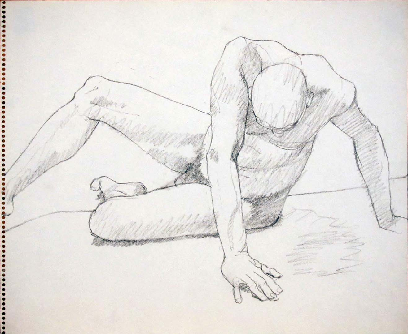 "Twisted Male Sitting Pencil 14"" x 17"""