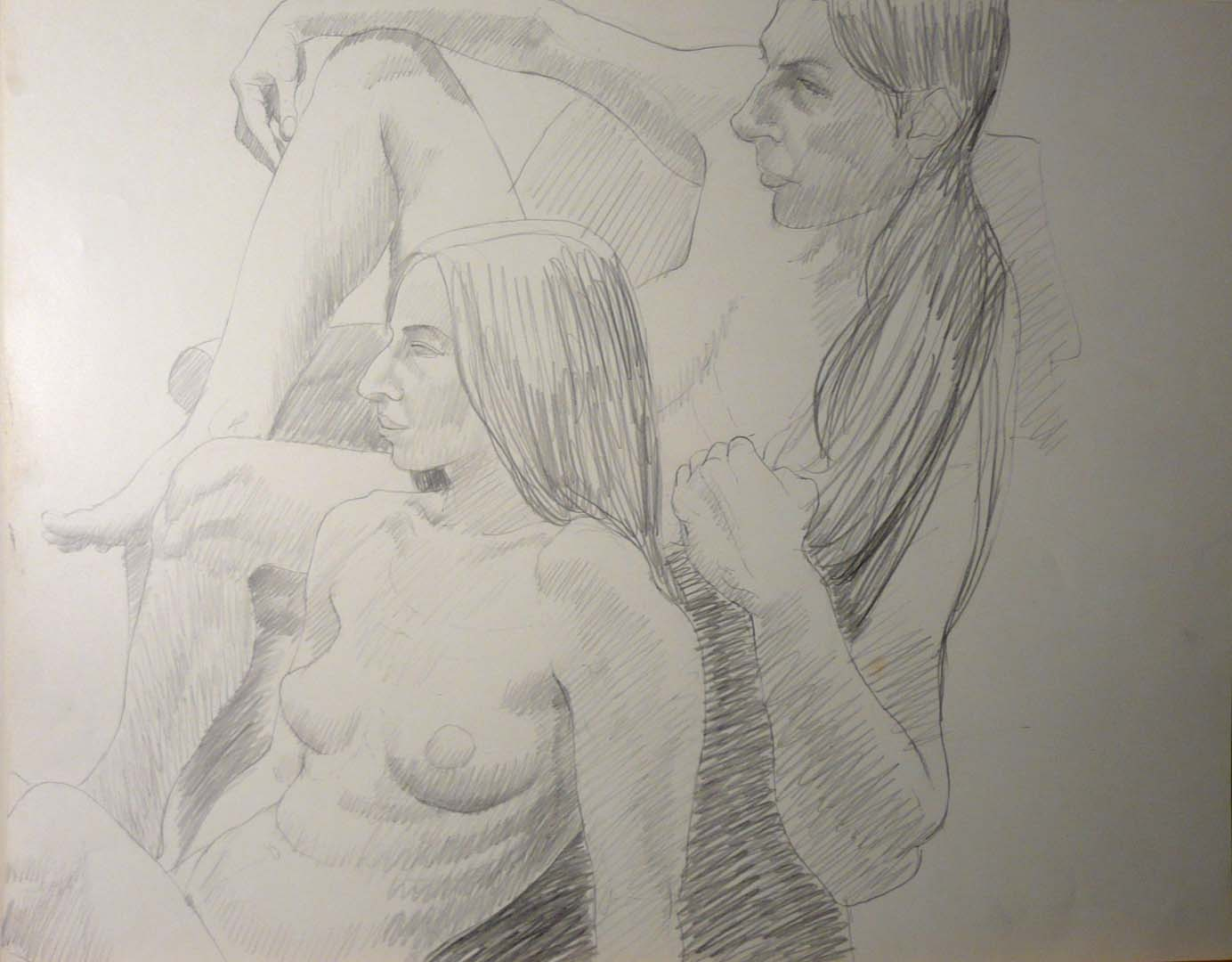Two Female Models Pencil 18.75 x 24