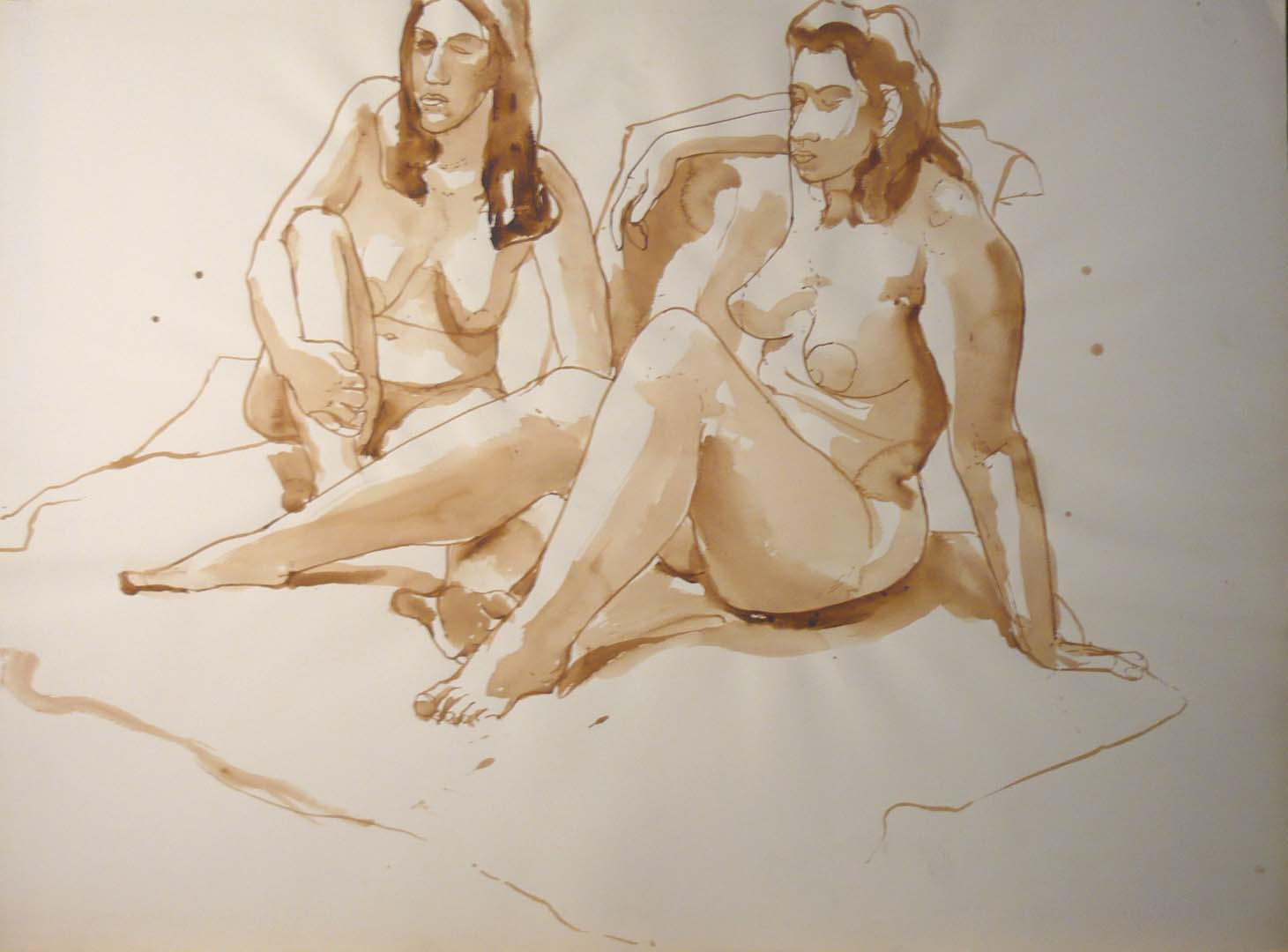 "Two Female Models Seated in Studio Sepia 22"" x 29.875"""