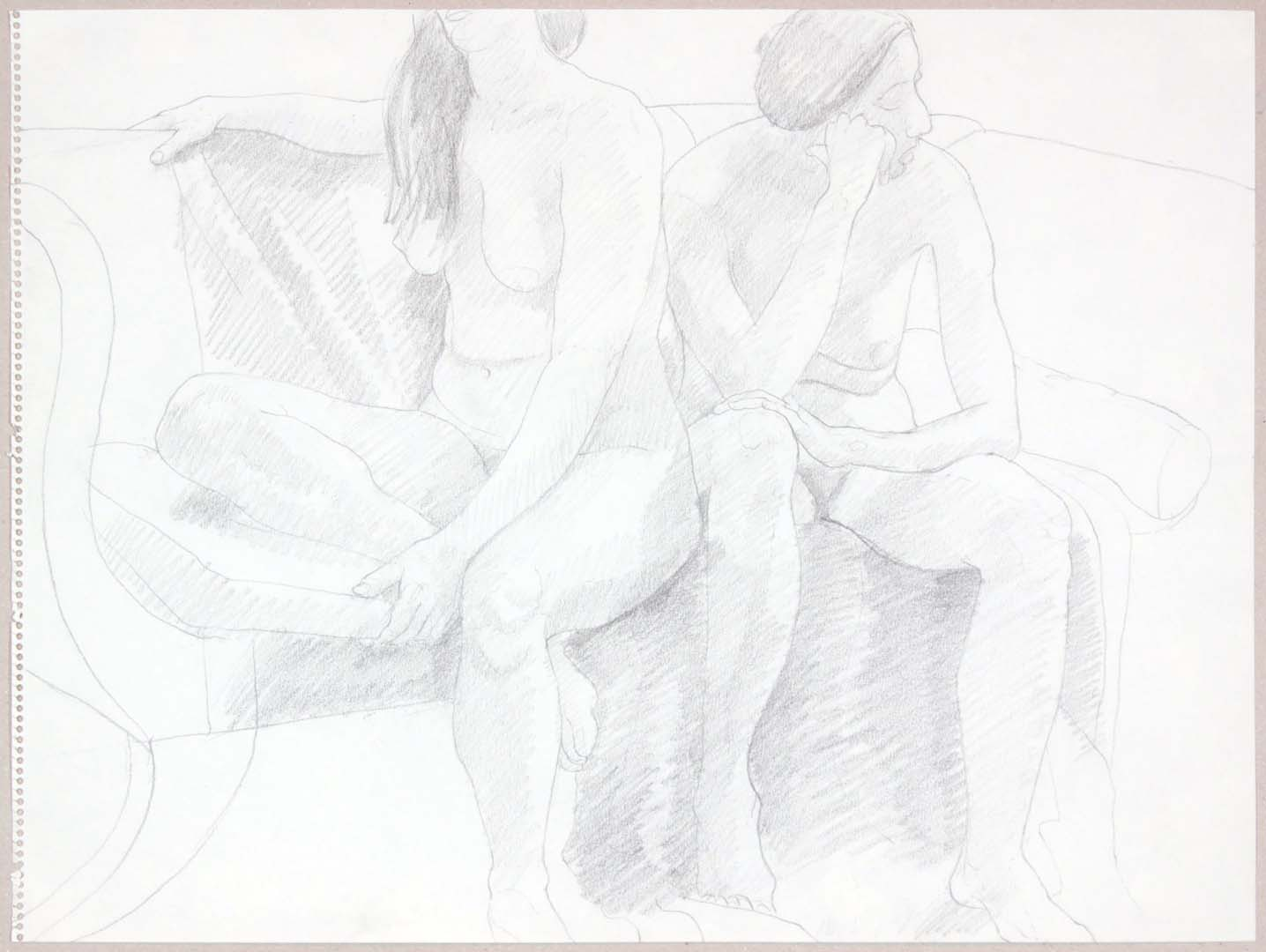 "Two Female Models Seated on Sofa Graphite 17.875"" x 24"""