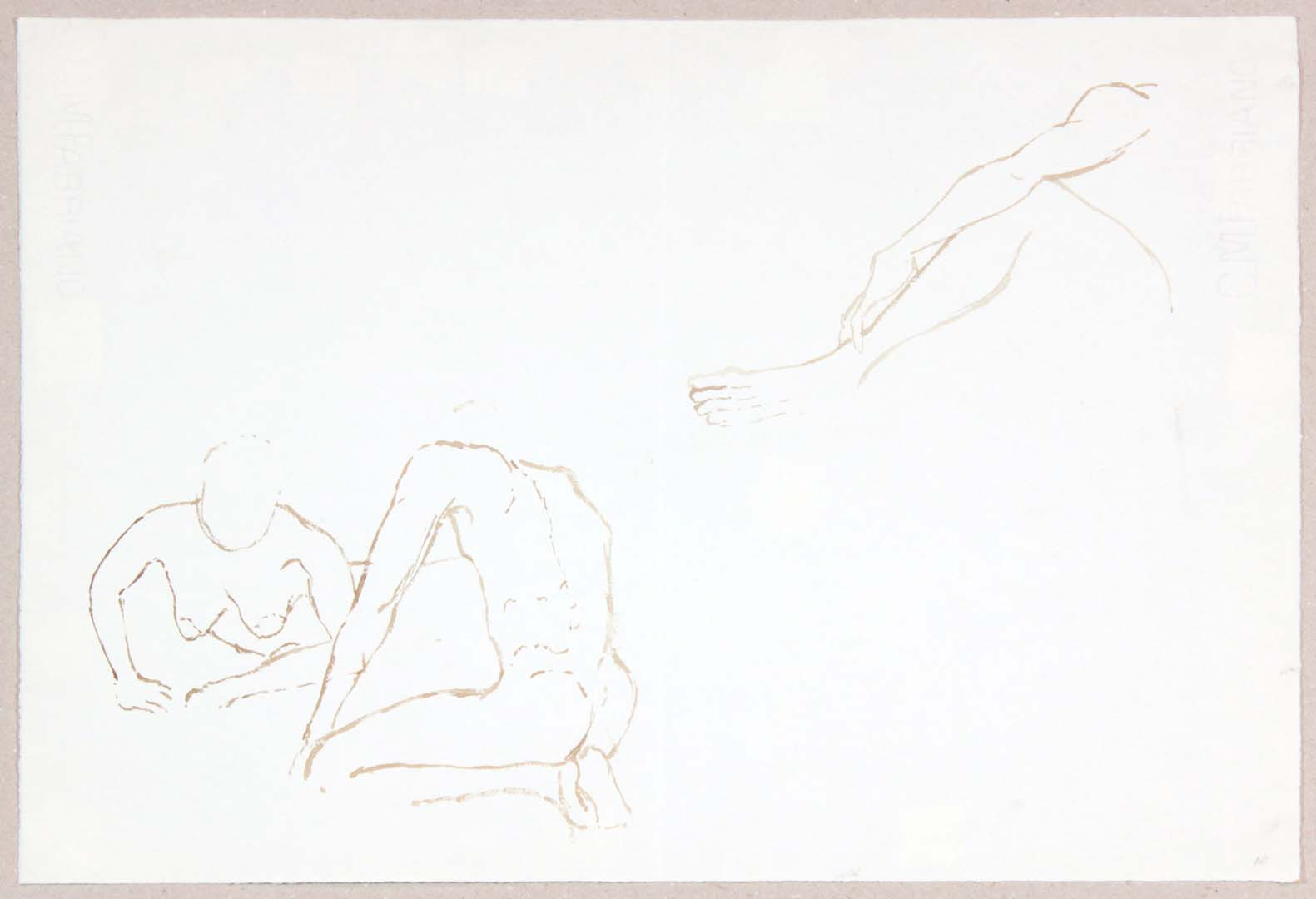"""Two Models on Floor and Leg and Arm Ink 13"""" x 18.75"""""""