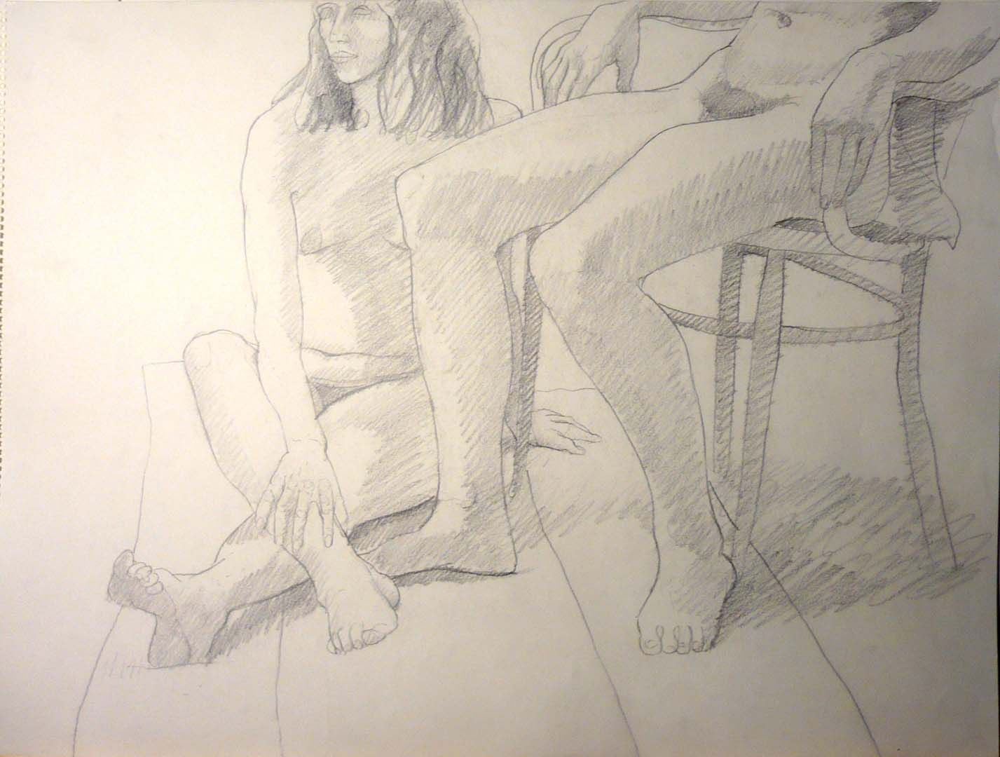 "Two Seated Female Models Graphite 18"" x 24"""