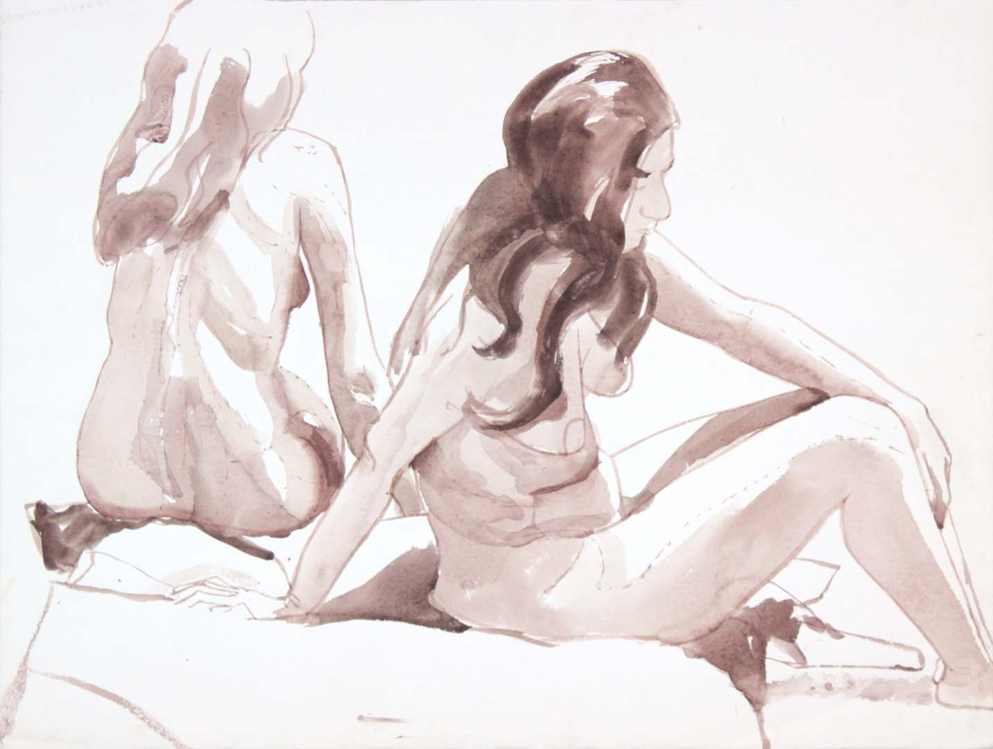 "Two Seated Female Models Wash 20.625"" x 27.125"""