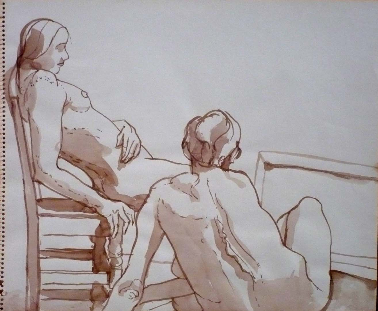 "Two Seated Female Nudes with Chair Sepia 14"" x 17"""