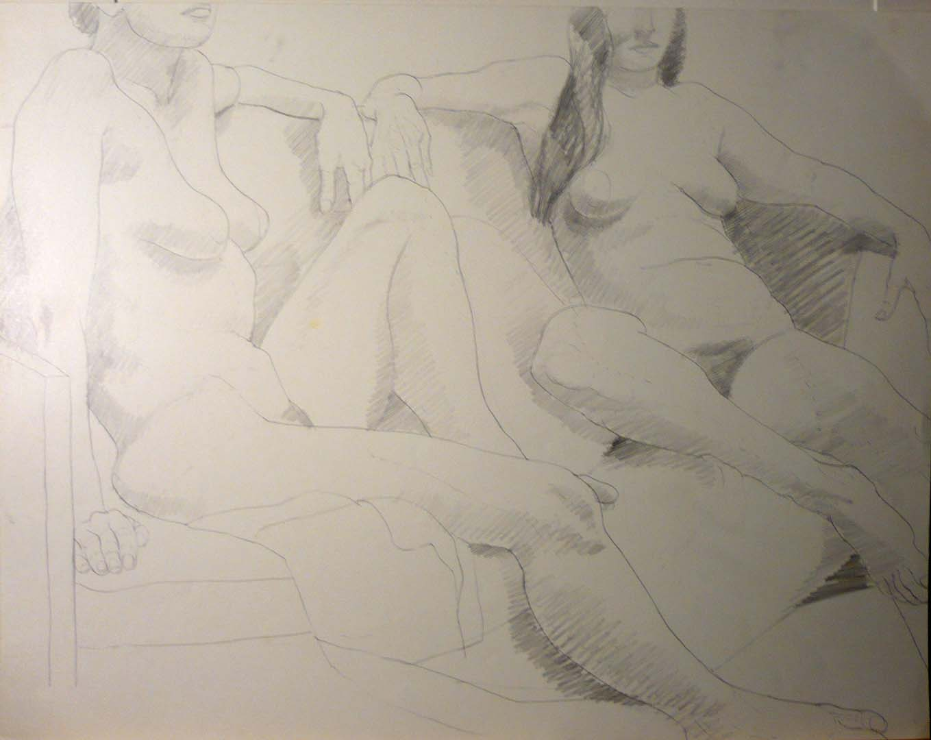 "Two Seated Models on Sofa Pencil 18.75"" x 24"""