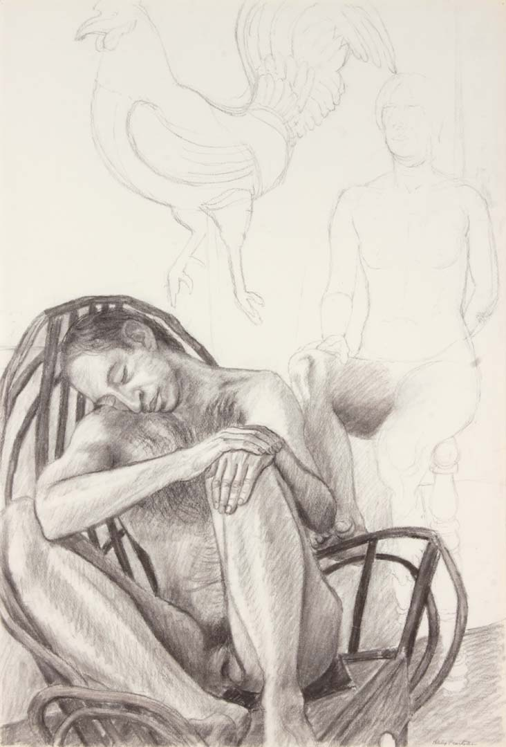 "Two Seated Nudes with Wooden Rocking Chair and Rooster Charcoal on Paper 29.875"" x 20.25"""