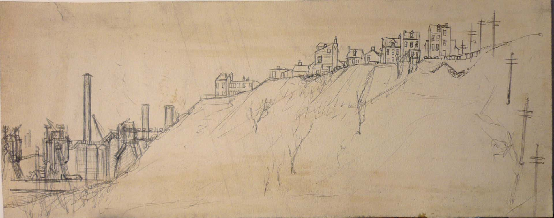 1949 Untitled (Pittsburgh Landscape) Pen on Paper 5.375 x 13.625