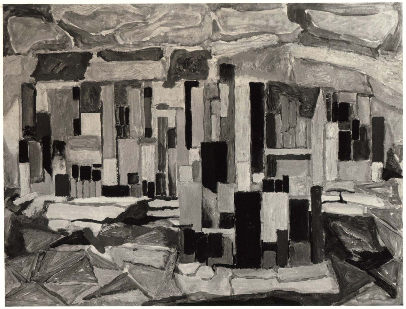 "1950 Study for the City Casein and Oil on Board 18"" x 24"""