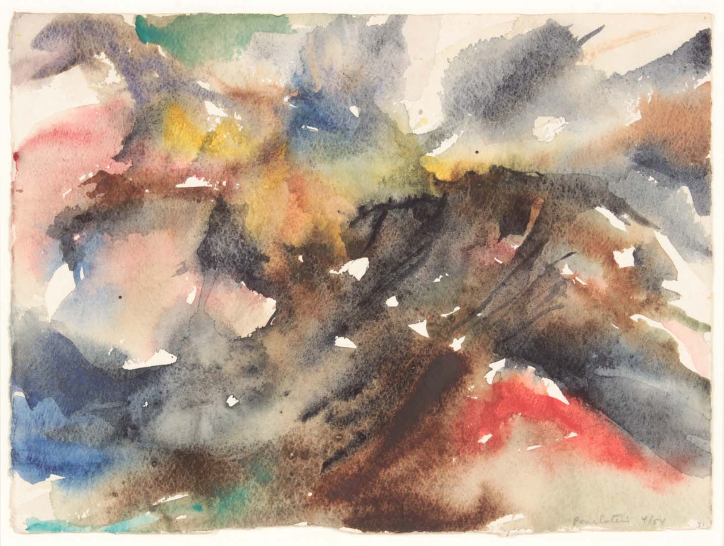 1954 Montauk Rocks #8 Watercolor on Paper 7.375 x 10