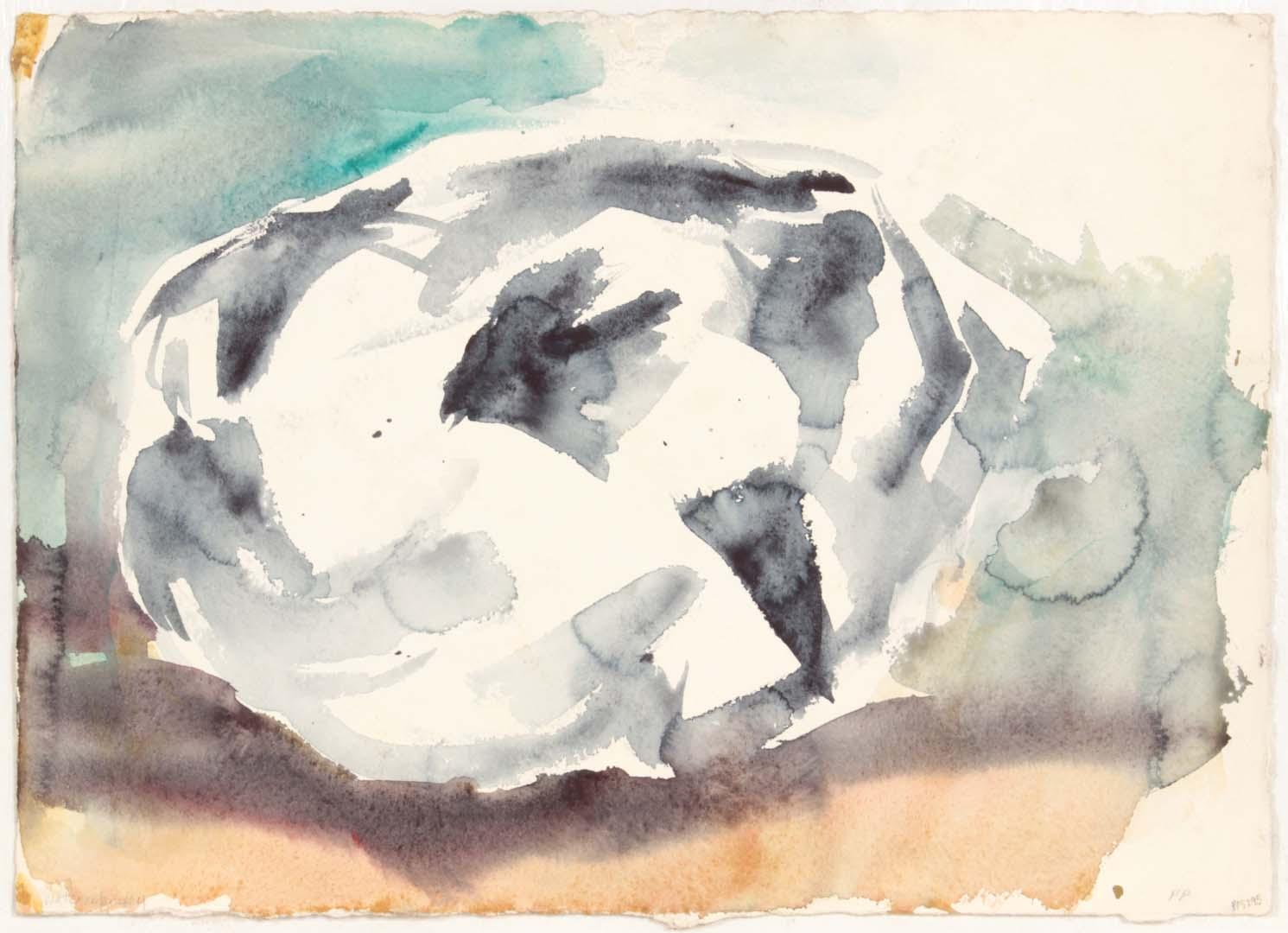 """1954 Watercolor #4 (2 Sided WOP) Watercolor on Paper 11.125"""" x 15.375"""""""