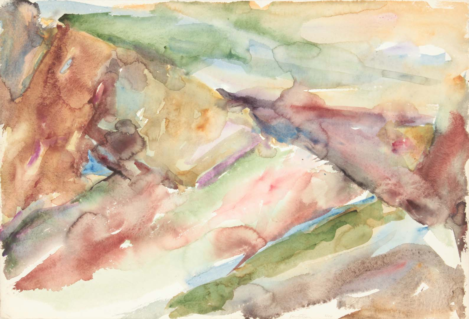 """1955 Abstract Watercolor Watercolor on Paper 15.375"""" x 22.5"""""""