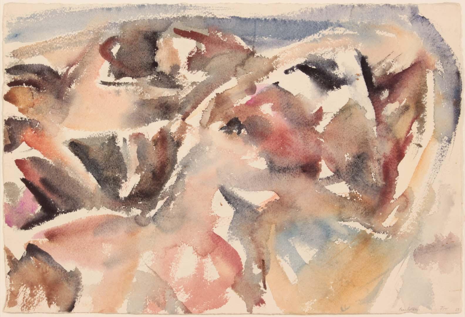 "1955 Montauk Rocks #7 Watercolor on Paper 14.875"" x 22"""