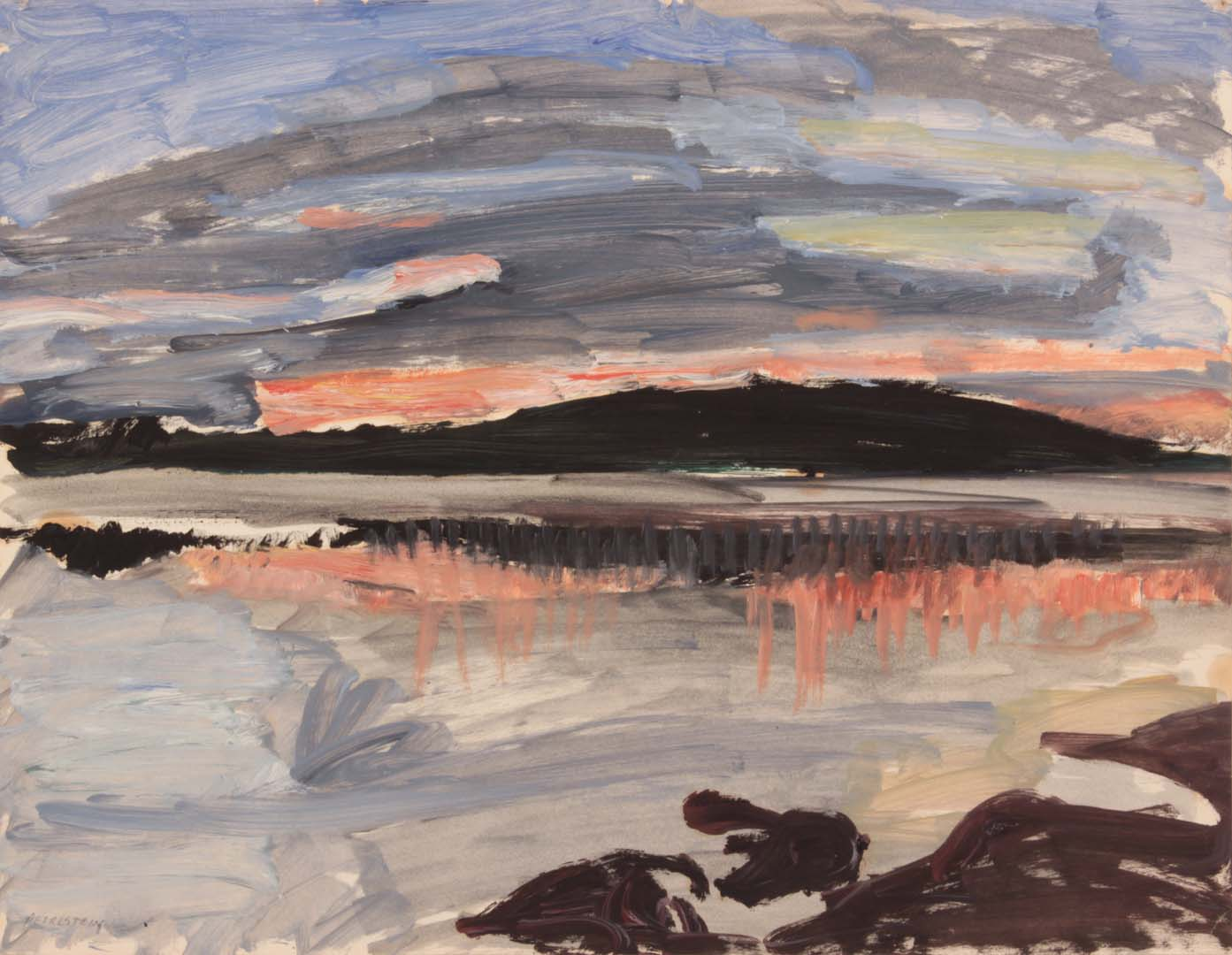 "1955 Sunset Over Sea Oil on Paper 16.875"" x 21.75"""