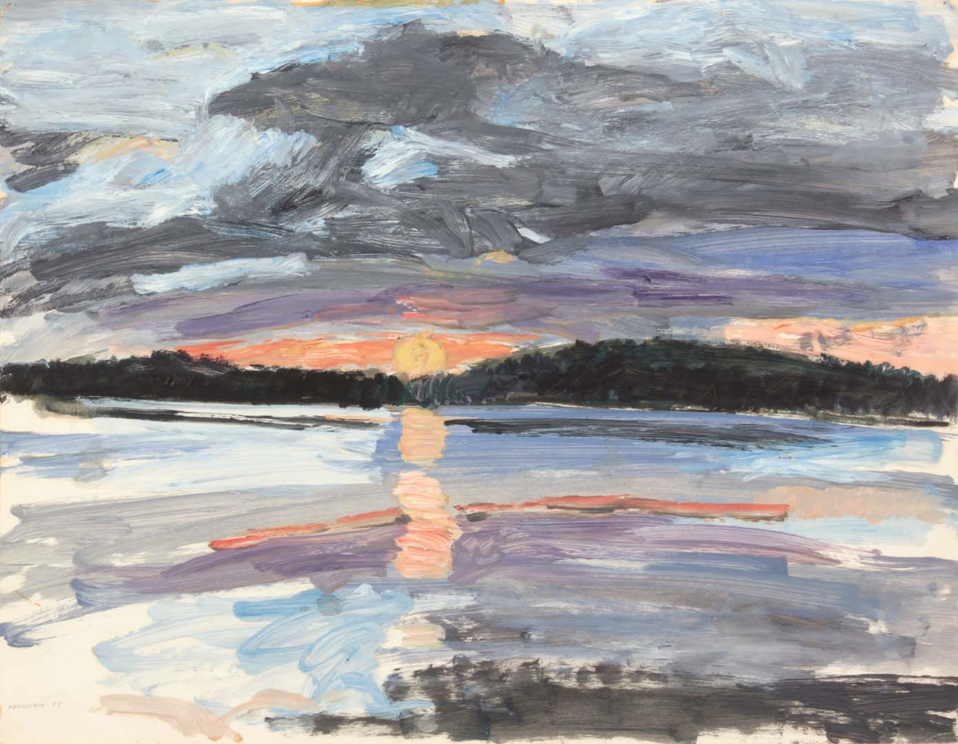 "1955 Sunset Over Sea #2 Oil on Paper 16.875"" x 21.75"""