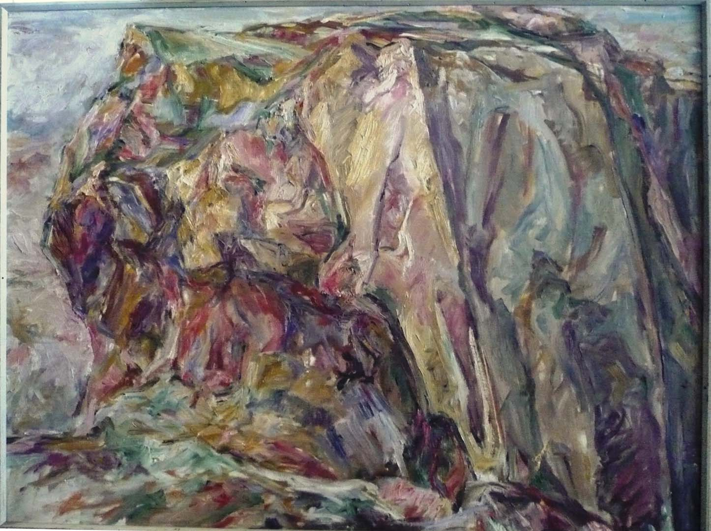 "1955 Yellow Rock Oil on Canvas 30"" x 40"""