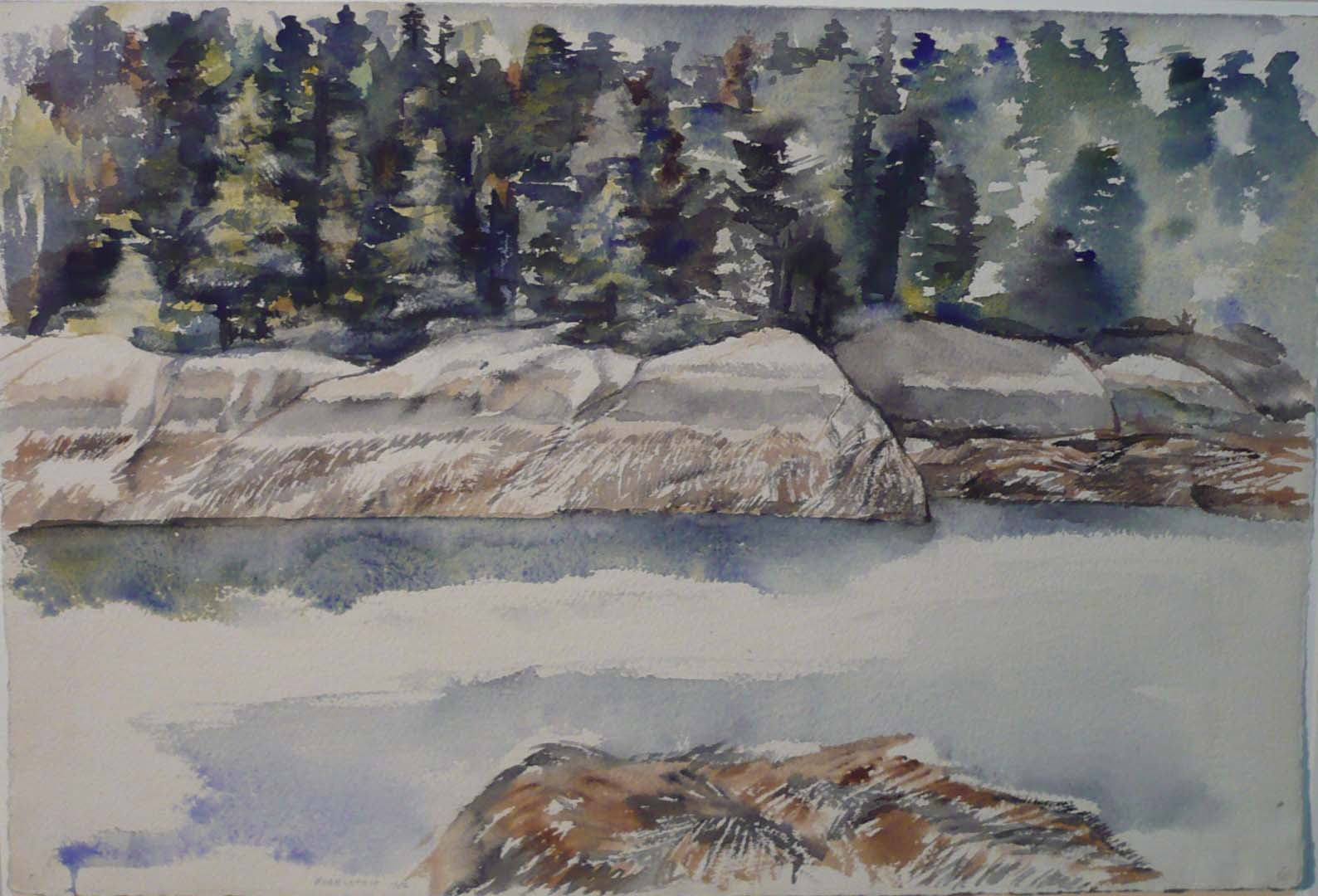 "1956 Deer Isle #5 Watercolor on Paper 14.75"" x 22"""