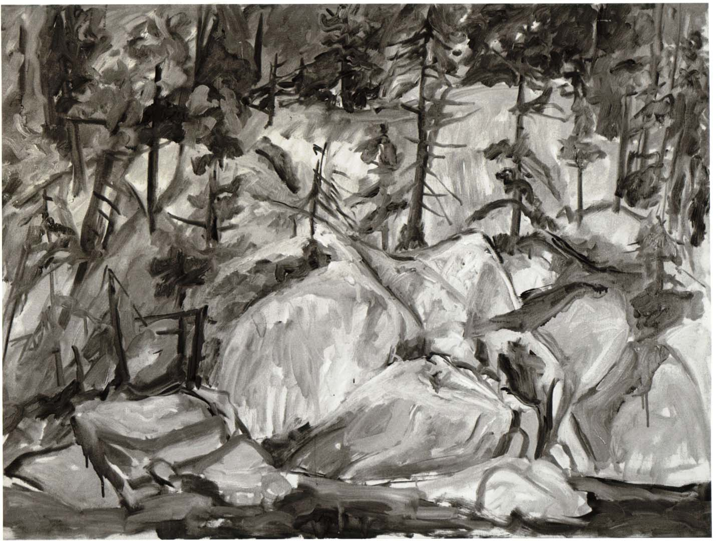 "1956 Forest Landscape Oil on Canvas 36"" x 48"""
