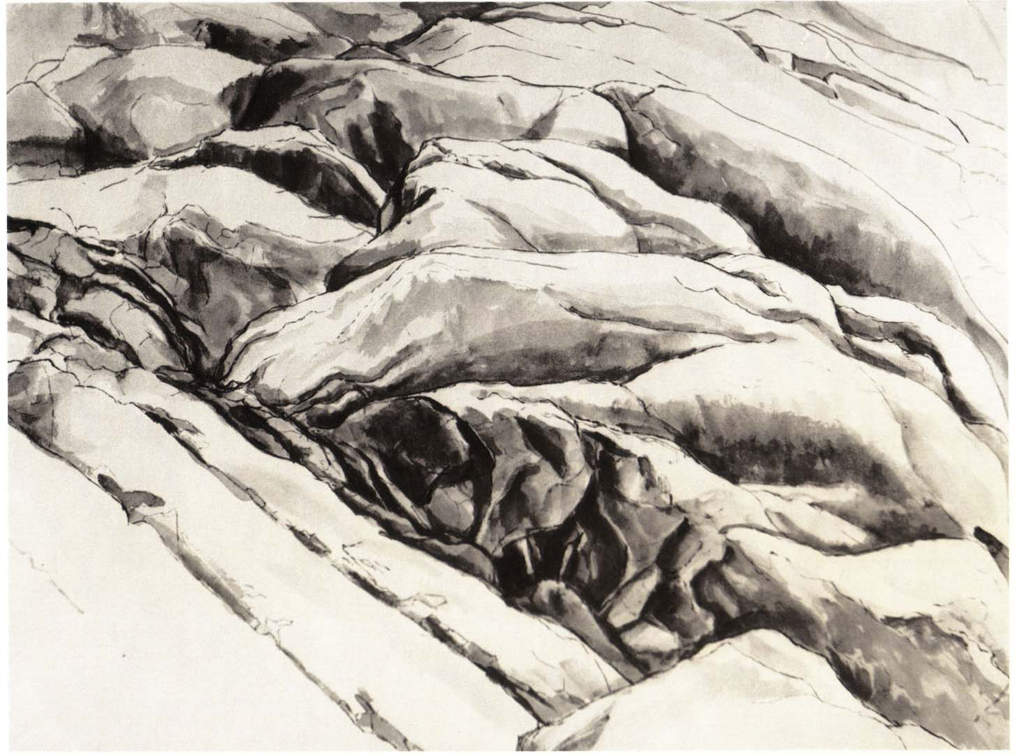 "1956 Ridged Rock Ink Wash on Paper 18.75"" x 24.75"""