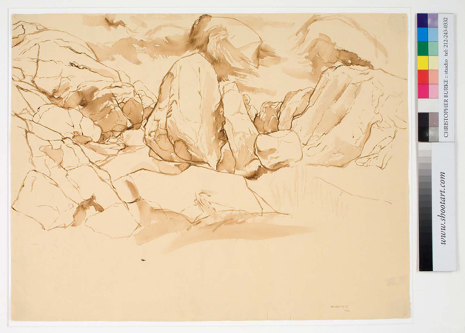 "1956 Study for Oil Painting Glacier Scraped Sepia Wash on Paper 19.125"" x 24.75"""