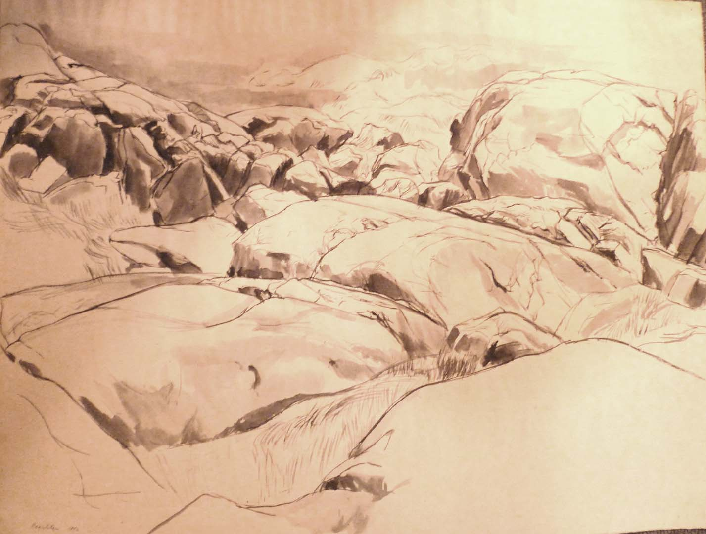 1956 Untitled (Rocks) Watercolor Wash on Paper 18.75 x 24.75