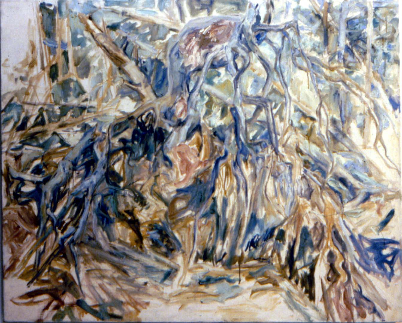 "1956 Uprooted Tree Oil on Canvas 40"" x 50"""