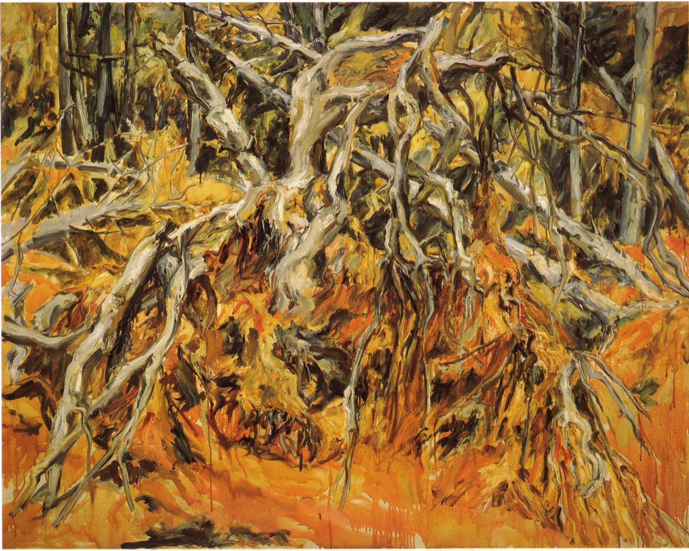 "1957 Uprooted Tree Oil on Canvas 48"" x 60"""