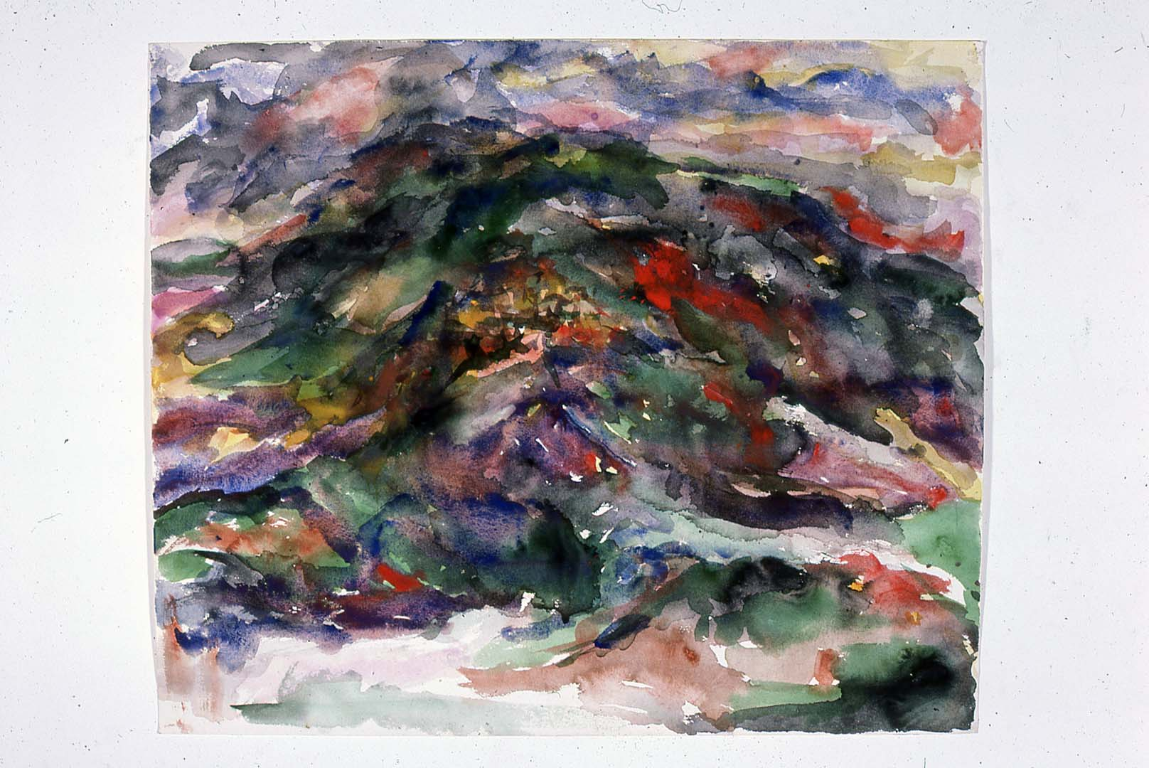 "1958 View of Assissi Watercolor on Paper 18"" x 22"""