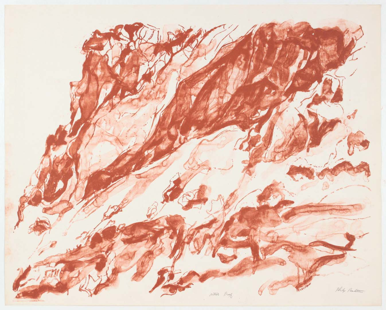 """1959 Cliff On The Amalfi Coast Lithograph on Paper 23.125"""" x 29"""""""
