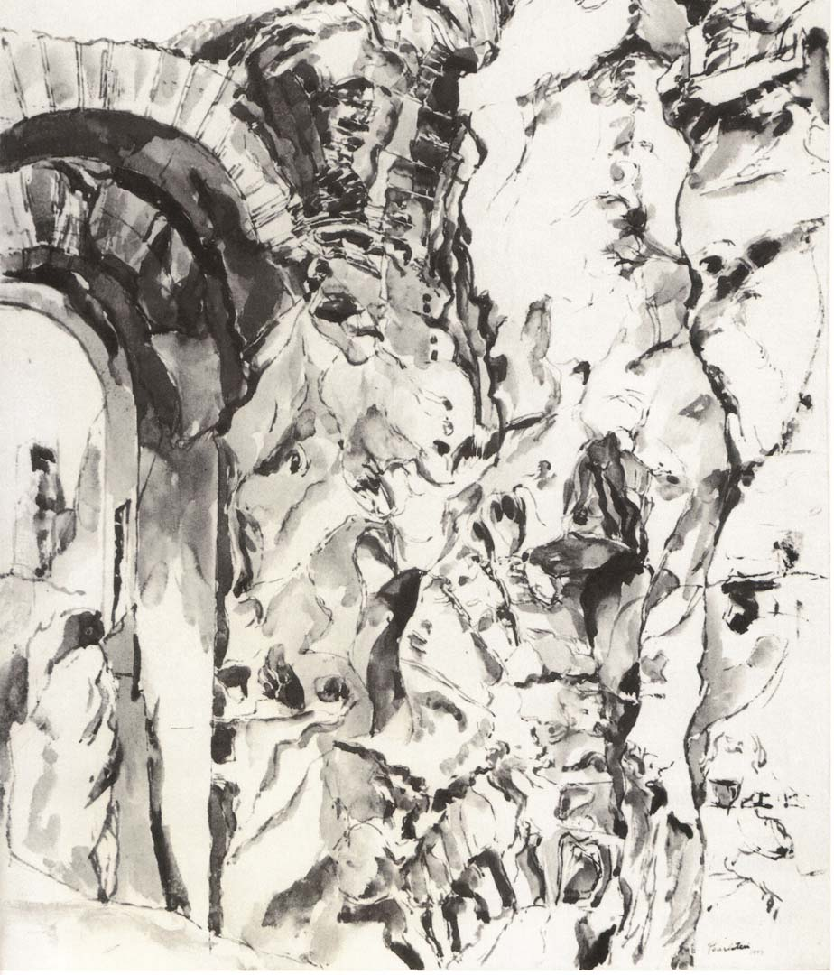 "1959 Palatine Ink Wash on Paper 27"" x 21.5"""