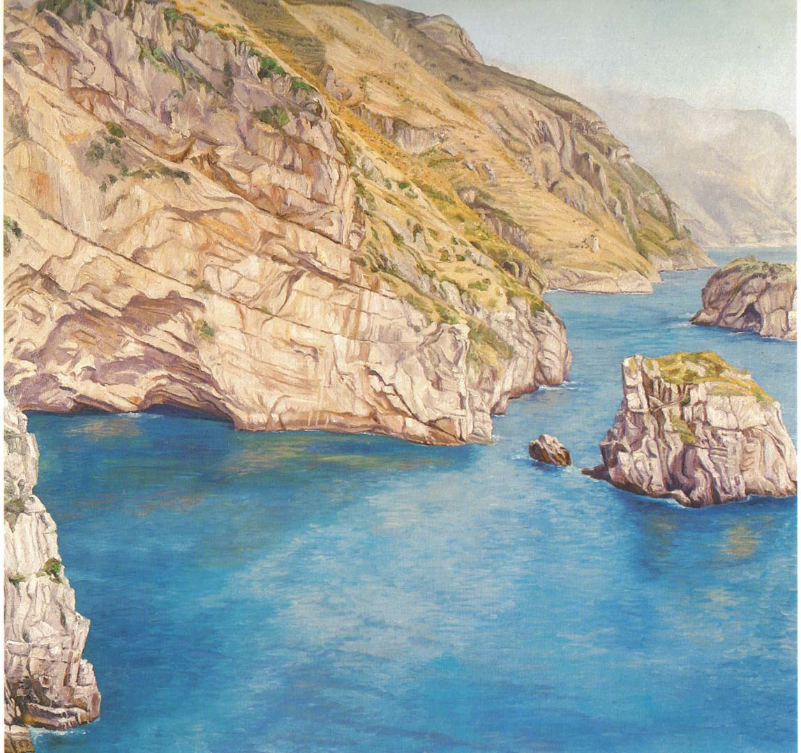 "1973 View Toward Positano Oil on Canvas 48"" x 48"""