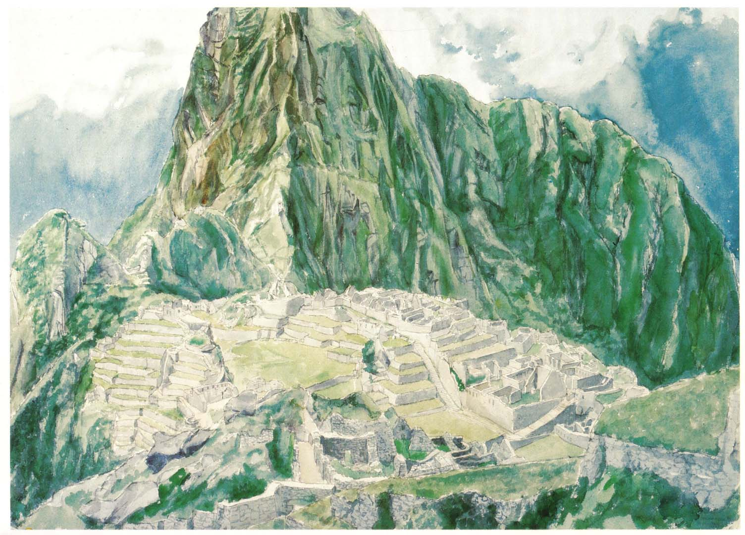 1977 Machu Picchu Watercolor on Paper 29.5 x 41