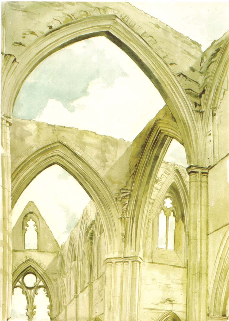 1977 Tinturn Abbey Watercolor on Paper 21 x 29