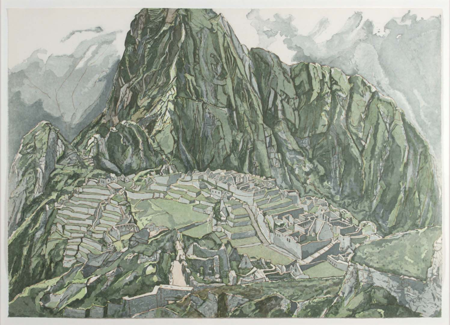 """1979 Machu Picchu Aquatint Etching on Paper 28.5"""" x 40"""""""