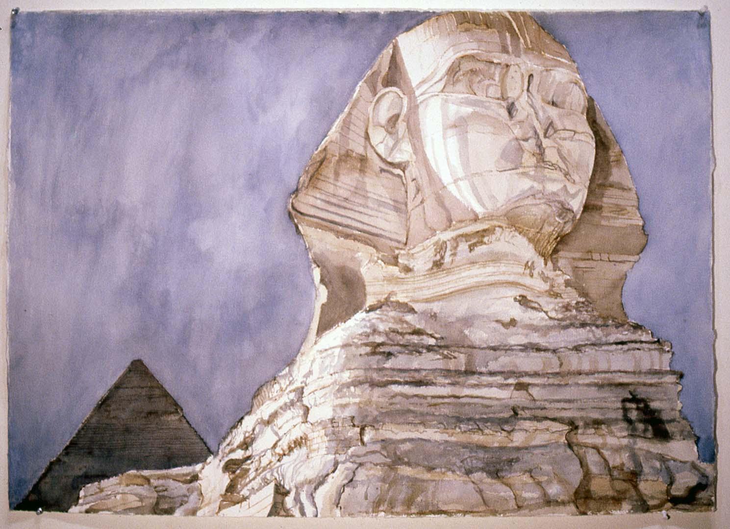 1979 Sphinx Watercolor on Paper 29 x 41