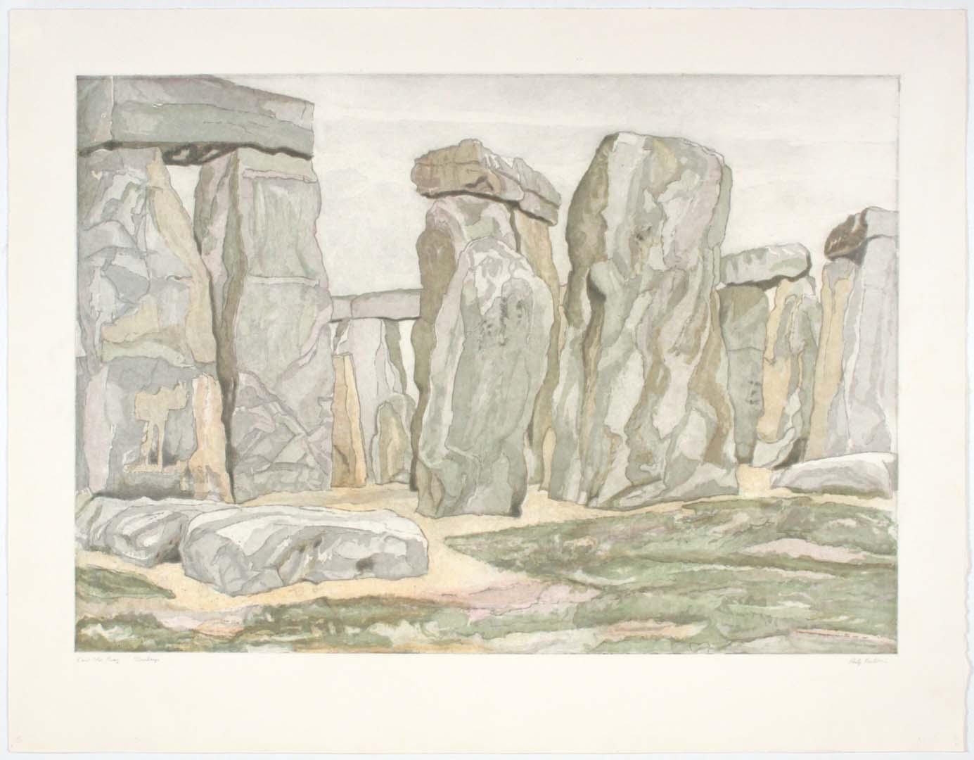 "1979 Stonehenge Aquatint Etching on Paper 30.25"" x 39"""