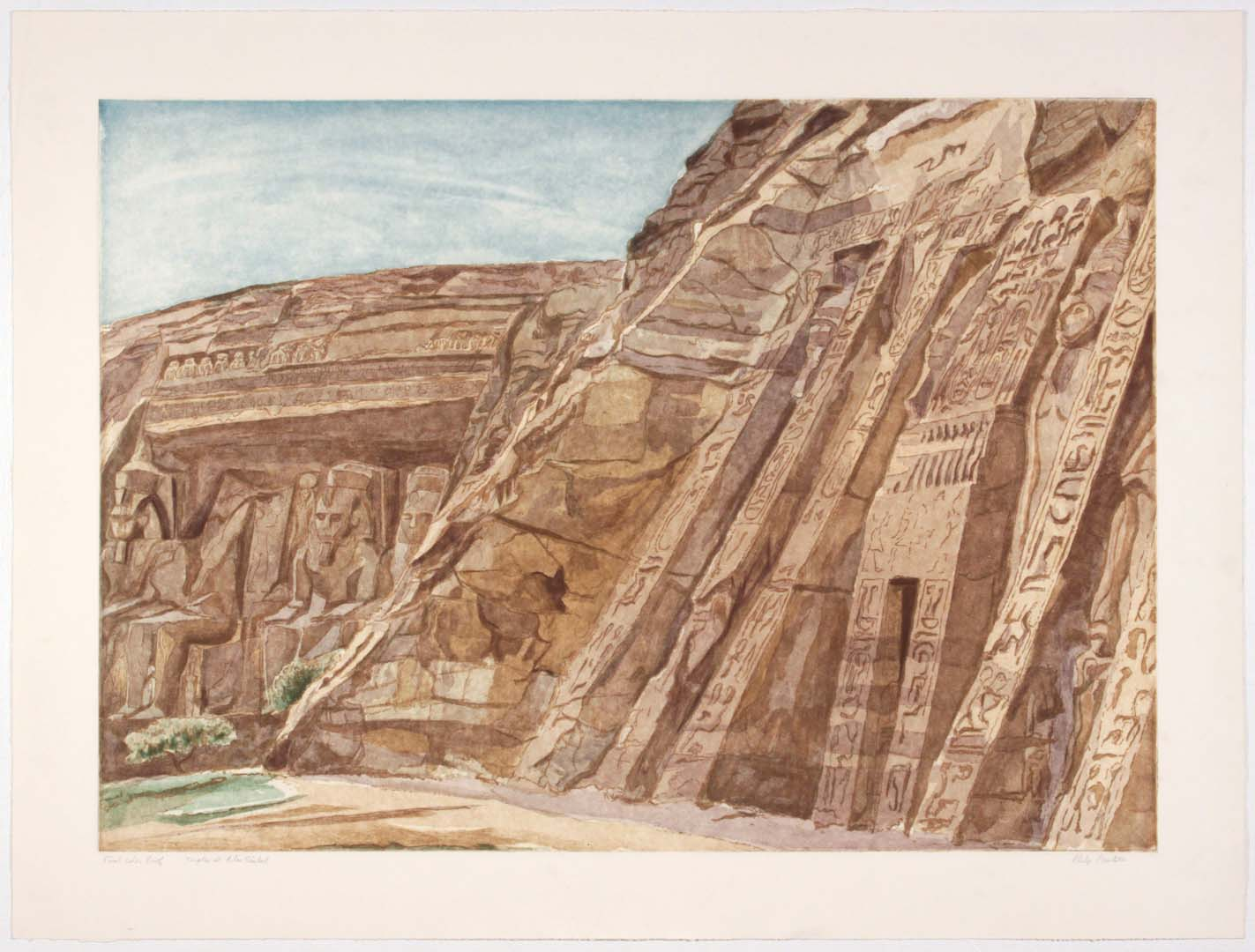 "1979 Temple at Abu Simbel Aquatint Etching on Paper 29.25"" x 39"""