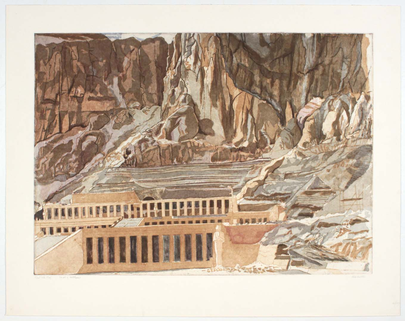 "1979 Temple of Hatshepsut Aquatint Etching on Paper 30.25"" x 29.125"""