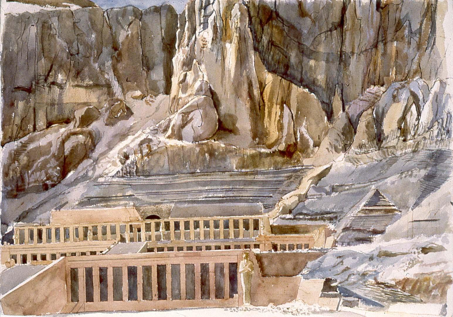 """1979 Temple of Hatshepsut Watercolor on Paper 29"""" x 41"""""""