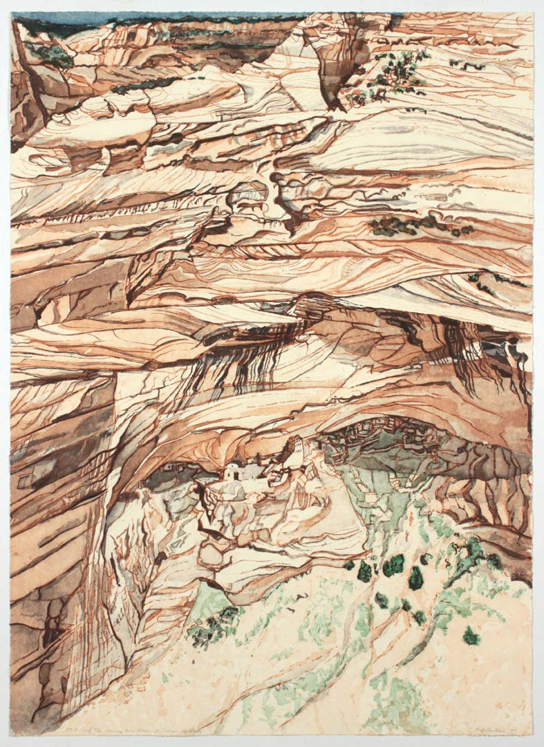"1981 Mummy Cave Ruins at Canyon de Chelly Aquatint Etching on Paper 40"" x 28.75"""