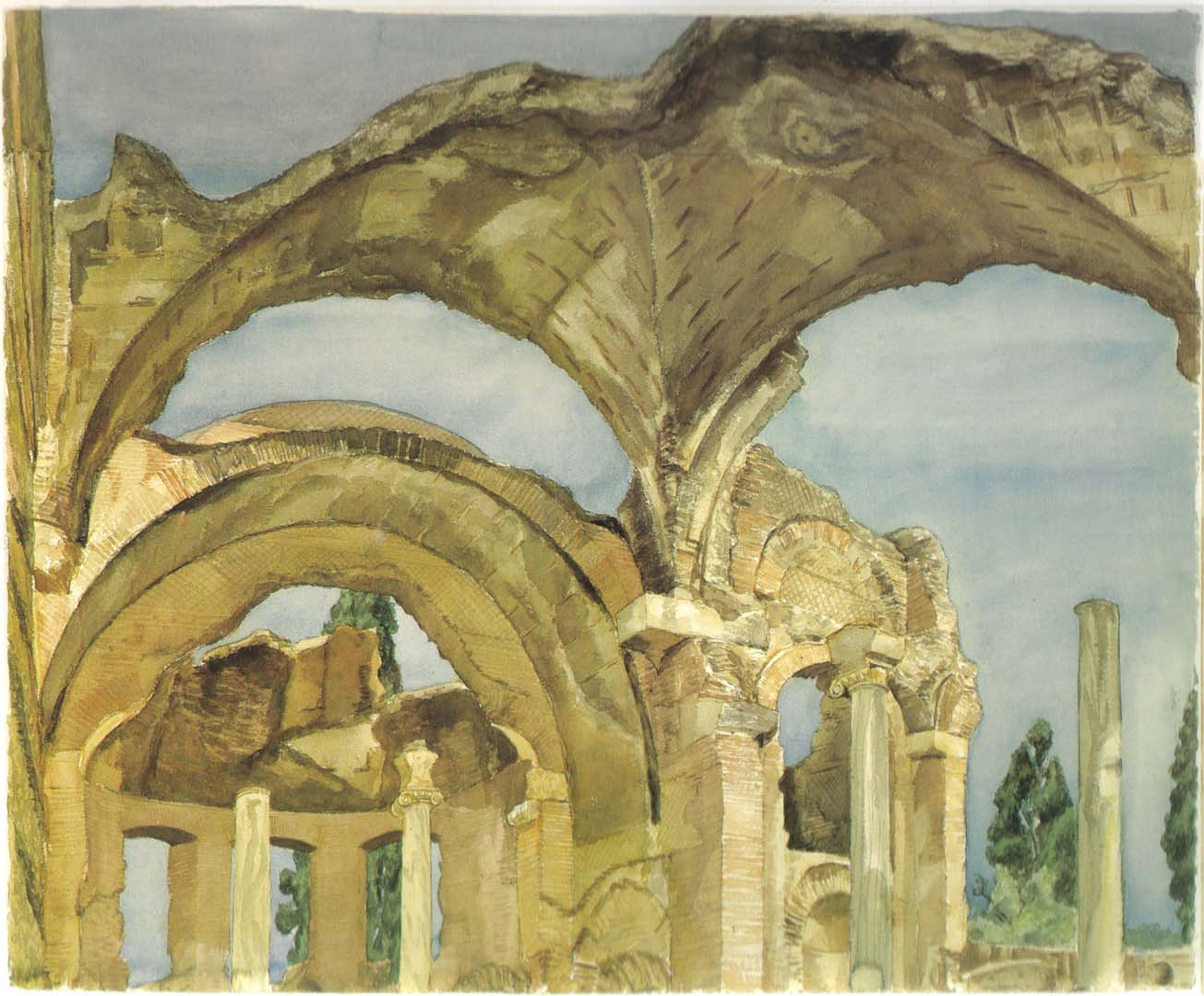 "1982 Hadrian's Villa Watercolor on Paper 34"" x 41"""
