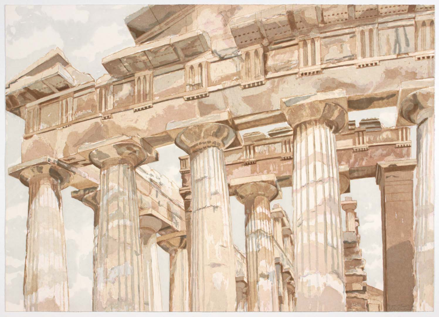 "1983 Temple at Paestum Aquatint Etching on Paper 28.5"" x 40.25"""
