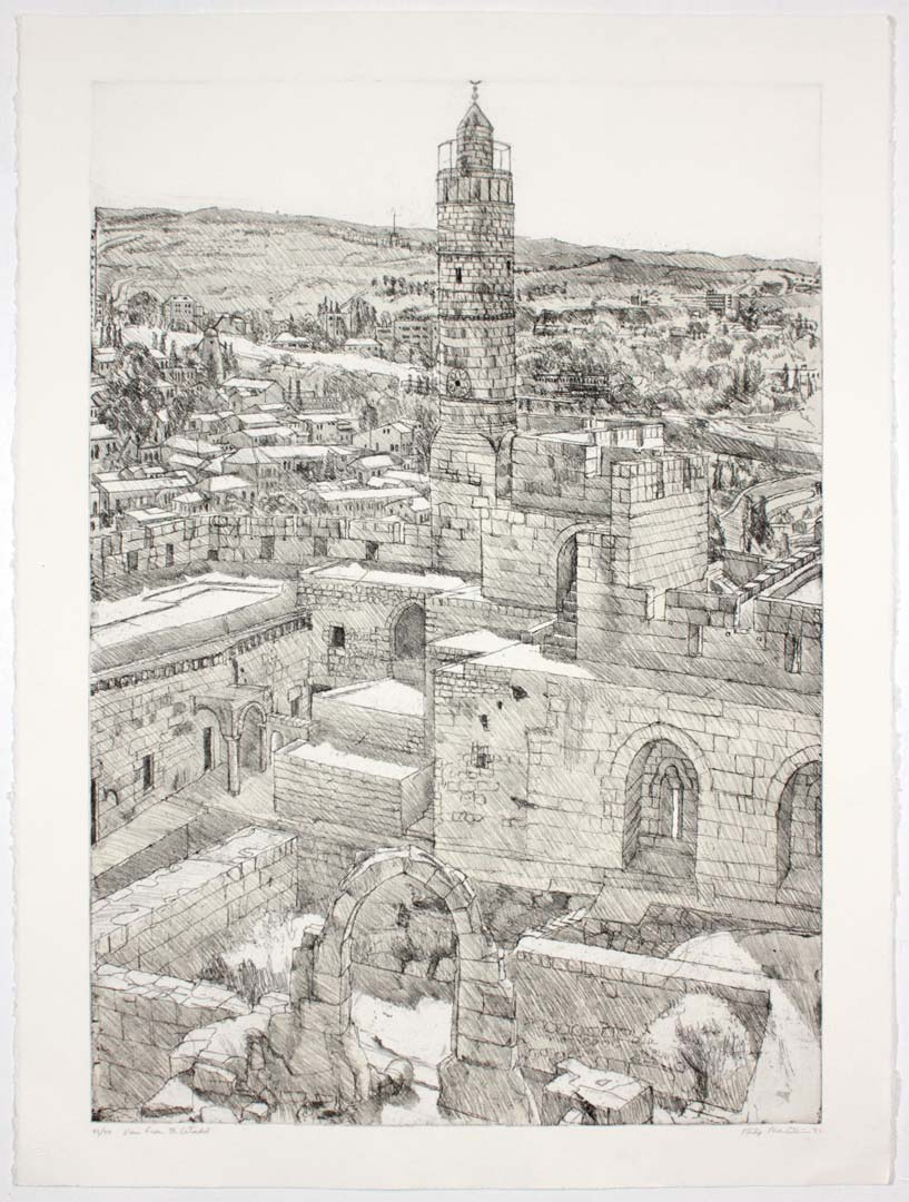 "1986 View from the Citadel Aquatint Etching on Paper 29.875"" x 22.25"""