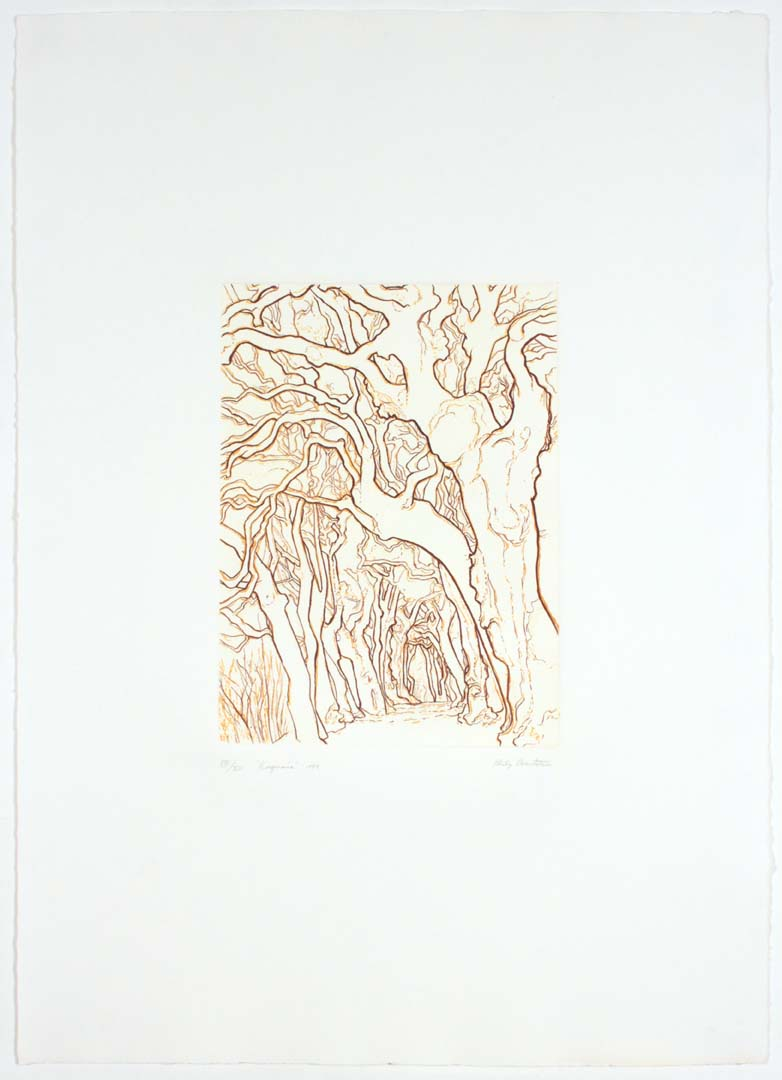 "1989 Ragnaia Aquatint Etching on Paper 12"" x 8.875"""