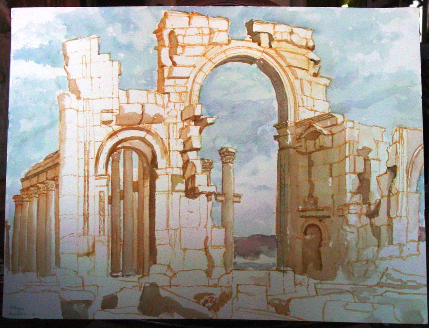 1993 Palmyra Watercolor on Paper 18 x 24