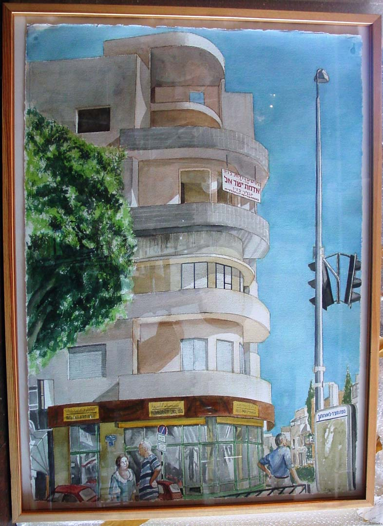 """1997 Tel Aviv Bauhus Construction Watercolor on Paper 42"""" x 29"""""""