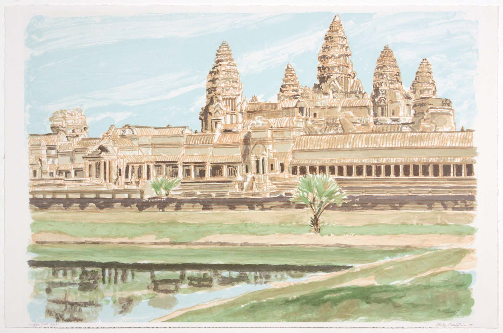 "1998 Ankor Wat Lithograph on Paper 22"" x 33"""