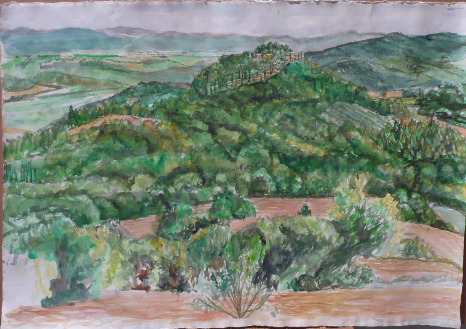 "2009 View Towards Lake Tresimano Watercolor on Paper 22.25"" x 32"""
